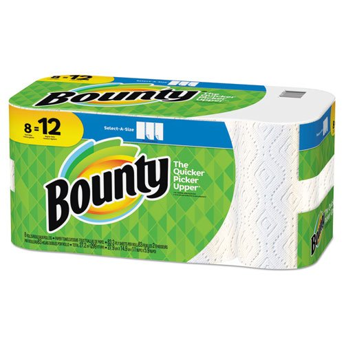 Bounty 74728 Select-a-Size Paper Towels, 2-Ply, White, 5.9 x 11, 83 Sheets/Roll, 8 ()