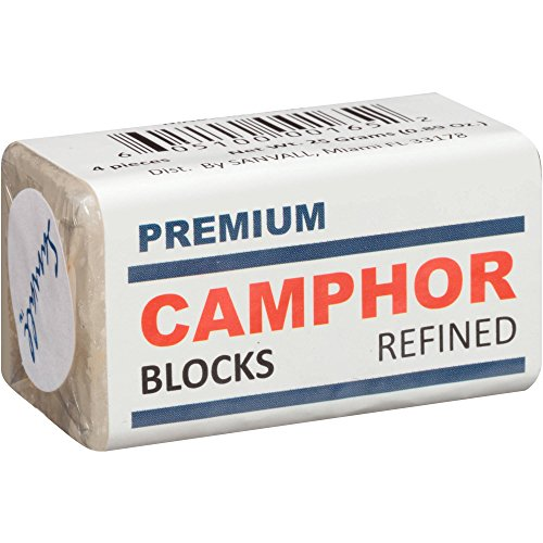 Camphor Blocks 4 Tablets Premium Refined / Alcanfor Sanvall - No Residue, Bed Bug Insect Repellant, Prevent Tool Tarnish, Rust Prevention and Protection