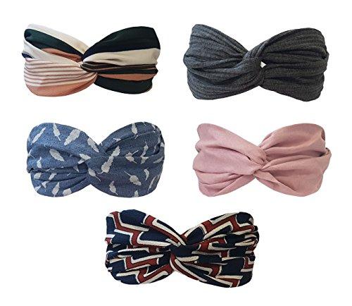 (BeautyN 5 Pack Headbands Headwrap Hair Band Elastics Hair Accessories for Women Girl (F19))