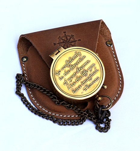Brass Compass Engraved With Thoreau's Go Confidently Quote And Stamped Leather Case, Boy Scouts - Him Gifts Steampunk For