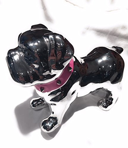 Coin Studded (Silver Ceramic Bulldog Coin Bank With Pink Studded Collar)
