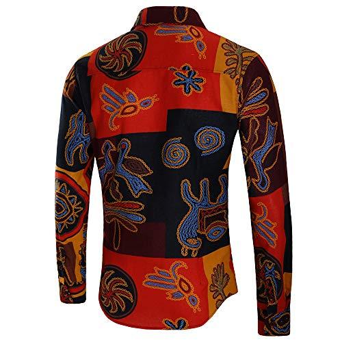 Stampata Manica Bhydry Da Top Camicie Lunga Uomo Sottile Casual Blusa Giallo Moda ggA1w8q