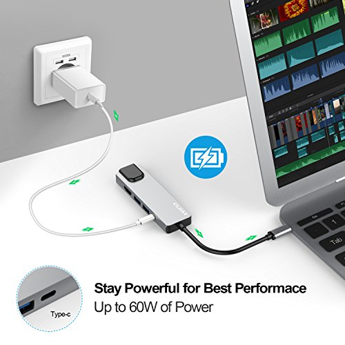 USB C Hub Multiport Adapter, 5-in-1 Colorfulday USB 3.1 Type C Thunderbolt 3 with HDMI 4K, 1000M RJ45 Gigabit Ethernet, 2 USB 3.0 Ports, USB C Power Charging for MacBook/ChromeBook Pixel/USB-C Devices by Colorfulday (Image #5)