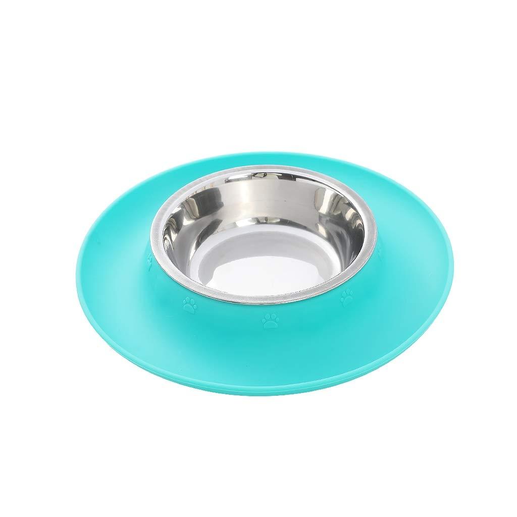 1  MDSADDSD Cat Dog Pet Bowl Silica gel Stainless Steel Single Bowl Nonslip Pet Supplies (color   3 , Size   L)