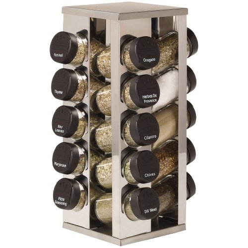 Kamenstein 20 Jar Stainless Steel Rotating Spice Rack by Kamenstein