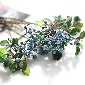 Vovomay Artificial Flowers Leaf, Fake Flowers Silk Plastic Berry Vinegar Simulation Leaves- Bridal Wedding Bouquet for Home Garden Party Wedding Decoration (f) 50