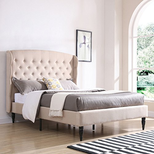 (Classic Brands DeCoro Brighton Upholstered Platform Bed | Headboard and Wood Frame with Wood Slat Support | Linen, King)