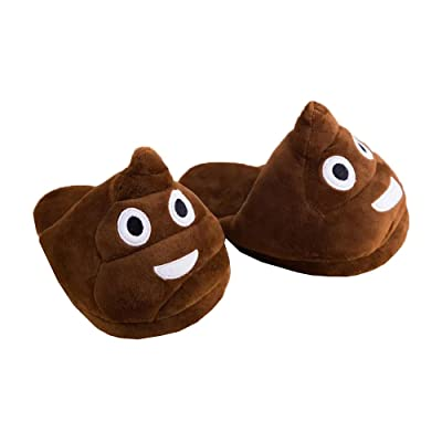 Slippers Emoji Poo Novelty Slippers Great Present Fun and Soft 1 Pair: Home & Kitchen