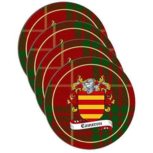 - Cameron Scottish Clan Shield Round Drinks Coaster on Cameron tartan Background - SET OF FOUR