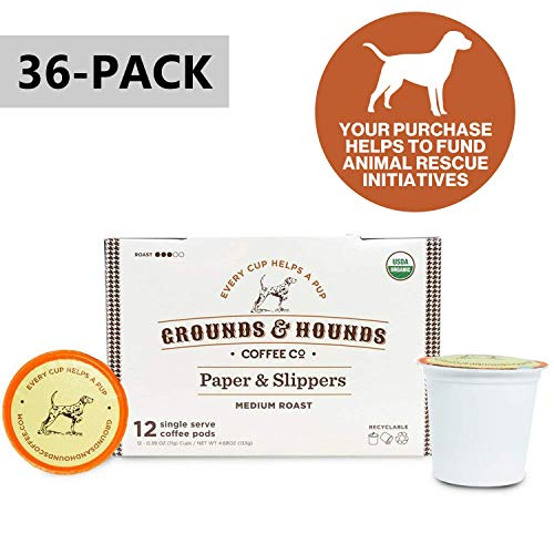 Grounds & Hounds Single Serve Organic Coffee Pods - Compatible with Keurig K Cup Machines - 100% Arabica Small Batch Roasted (Paper & Slippers, 36)
