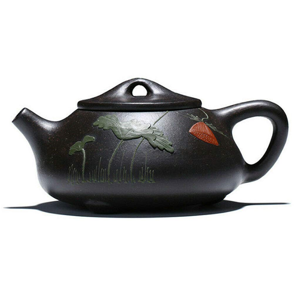 Teapot 8oz Chinese Yixing Genuine Black Clay Zisha Shipiao Pot Infusers Loose Tea (embossed flower)