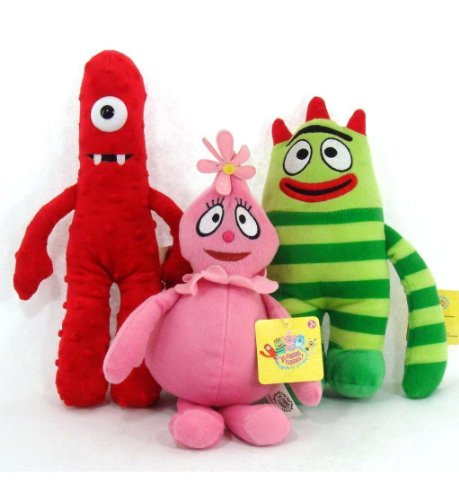 Yo Gabba Gabba Set of 3 Plush Dolls Muno Brobee & Foofa 9 inches -