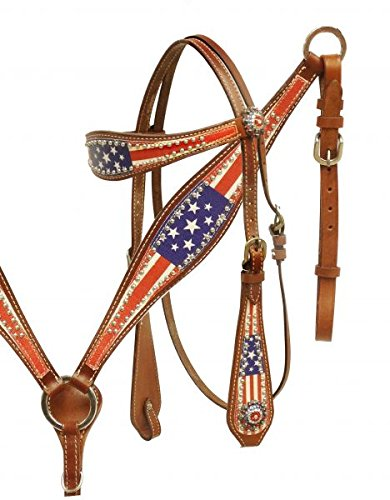 Showman American Flag Leather Bridle & Breast Collar Set w/Stars & Stripes