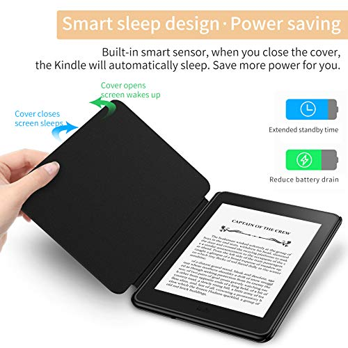 Infiland Kindle Paperwhite 2018 Case Compatible with Amazon Kindle Paperwhite 10th Generation 6 inches 2018 Release(Auto Wake/Sleep), Black