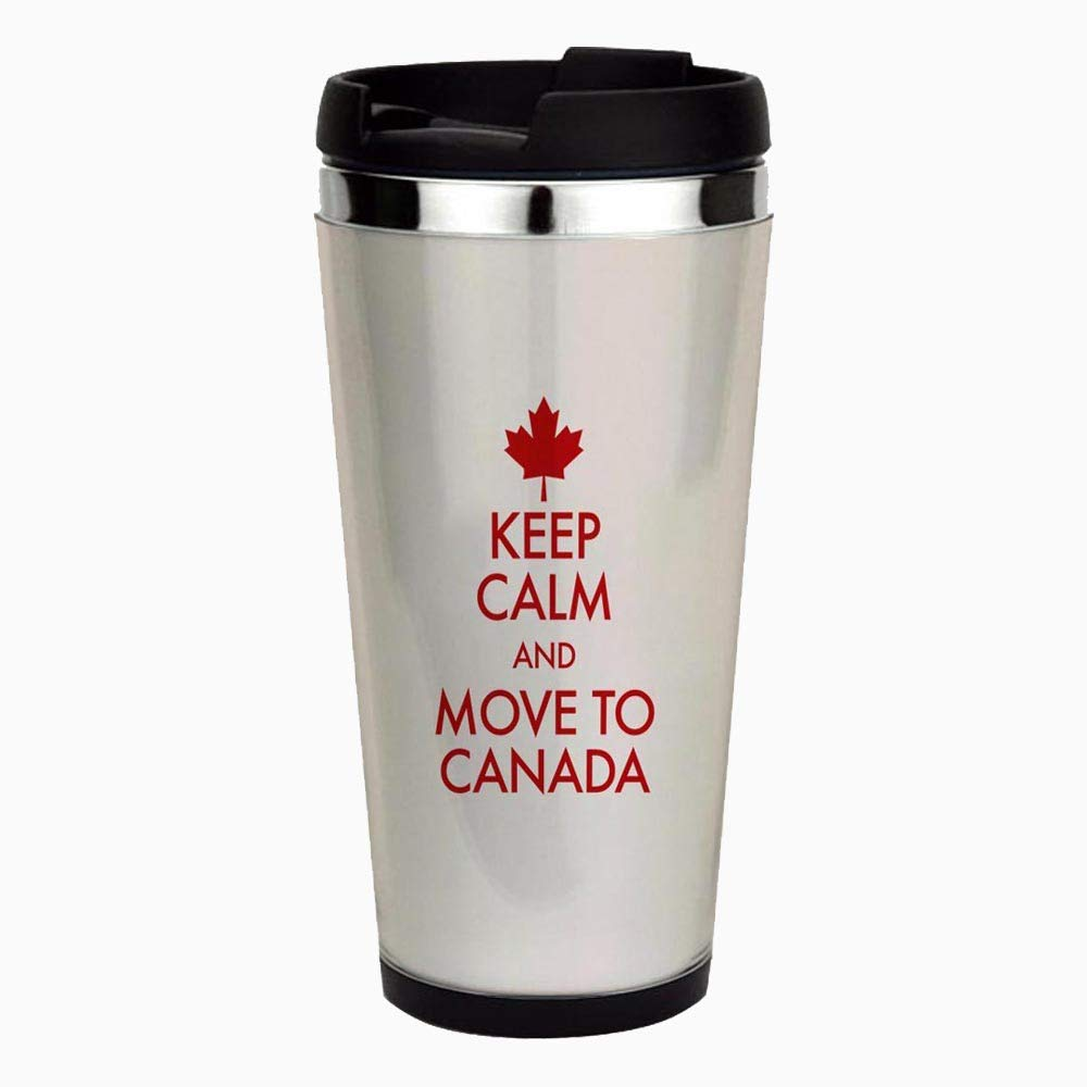 Keep Calm Move To Canada - Unique and Funny Stainless Steel Travel Mug, Insulated 18 oz. Coffee Tumbler