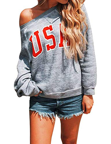 (Womens USA Letters Printed Off Shoulder Pullover Shirt Long Sleeve Casual Loose Sweatshirt Blouse)