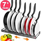 """BTH NEW Expandable Kitchen Pan and Pot Organizer Rack: Stores 7+ Pans, Can Be Extended to 22.25"""", Total 7 Adjustable Compartments, Pantry Cupboard Bakeware Plate Holder (BTH Expandable Pan Organizer)"""
