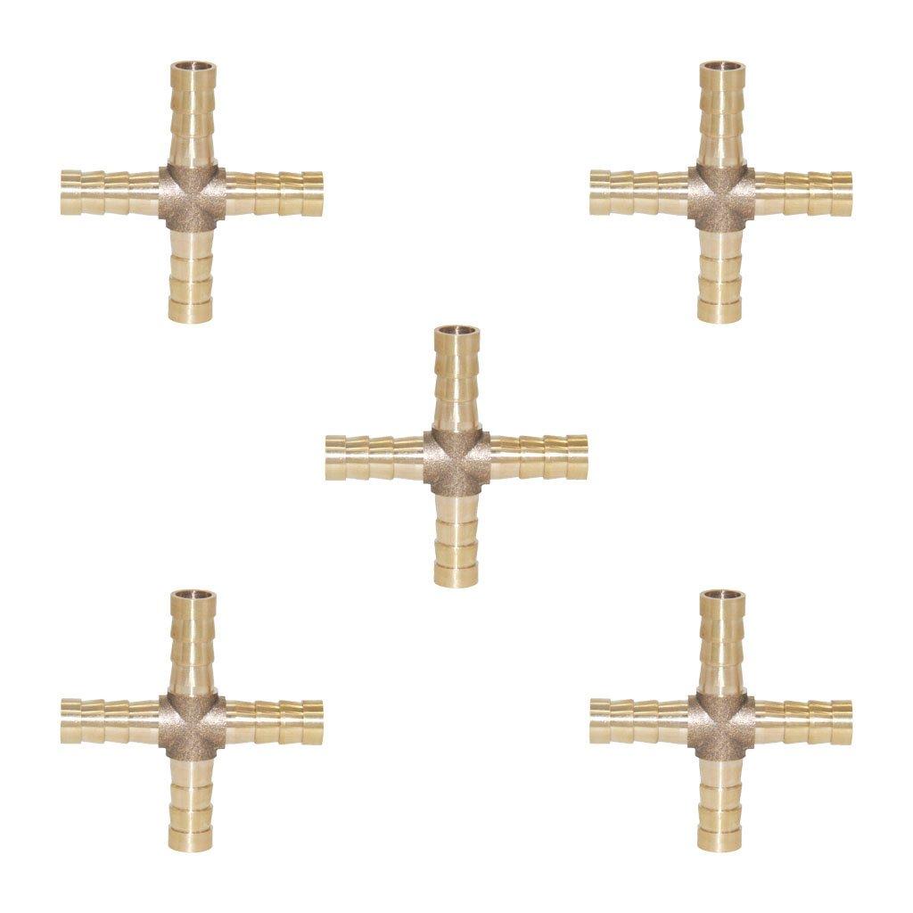 10 mm petsola 5 Unids 6-12 Mm En Forma De Cruz De 4 V/ías Conector De Acoplamiento De Tuber/ía De P/úas De Lat/ón Conector