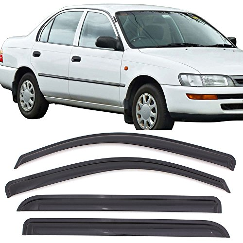 (Window Visors Fits 1993-1997 Toyota Corolla | Dark Smoke Car Rain Sun Window Shade Guard Visor Smoke by IKON MOTORSPORTS| 1994 1995 1996)