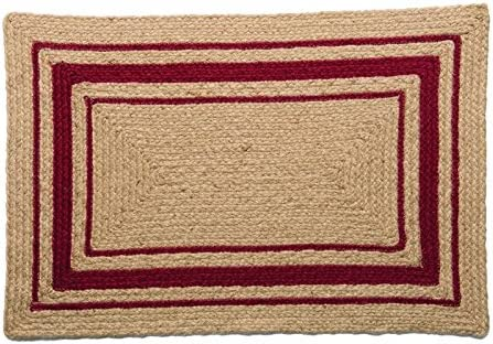 IHF Home Decor Cameron Braided Rug Rectangle Accent Area Floor Carpet Jute Natural Fiber