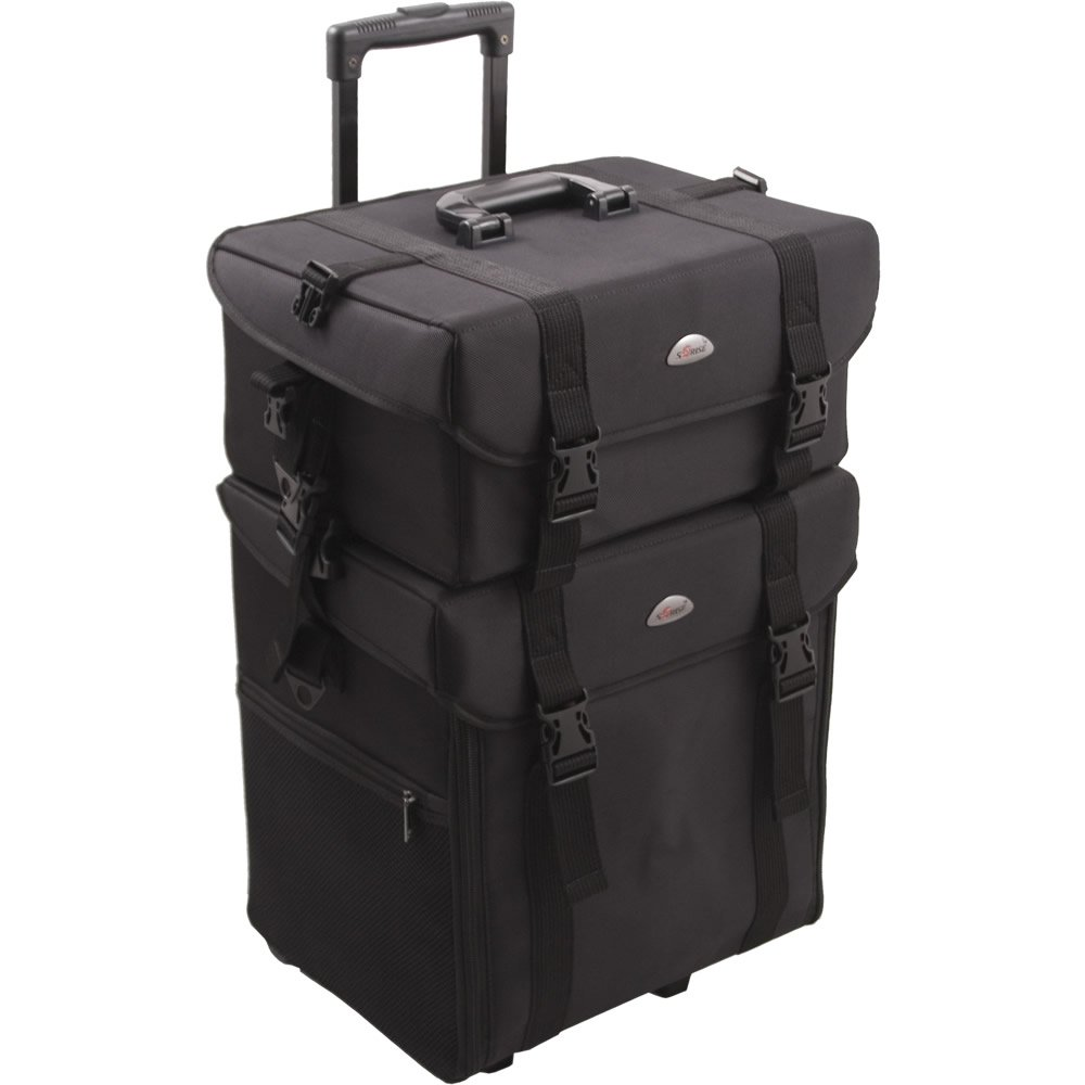Luggage With Drawers Sunrise C6007 Professional 2 In 1 Soft Nylon Rolling Makeup