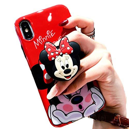 3D Cute Cartoon Soft Silicone Protector Case Gel Shockproof Phone Cover & Hand Holder Bracket Stand ~ Estuche Fundas Cobertor (Minnie, iPhone XR 6.1