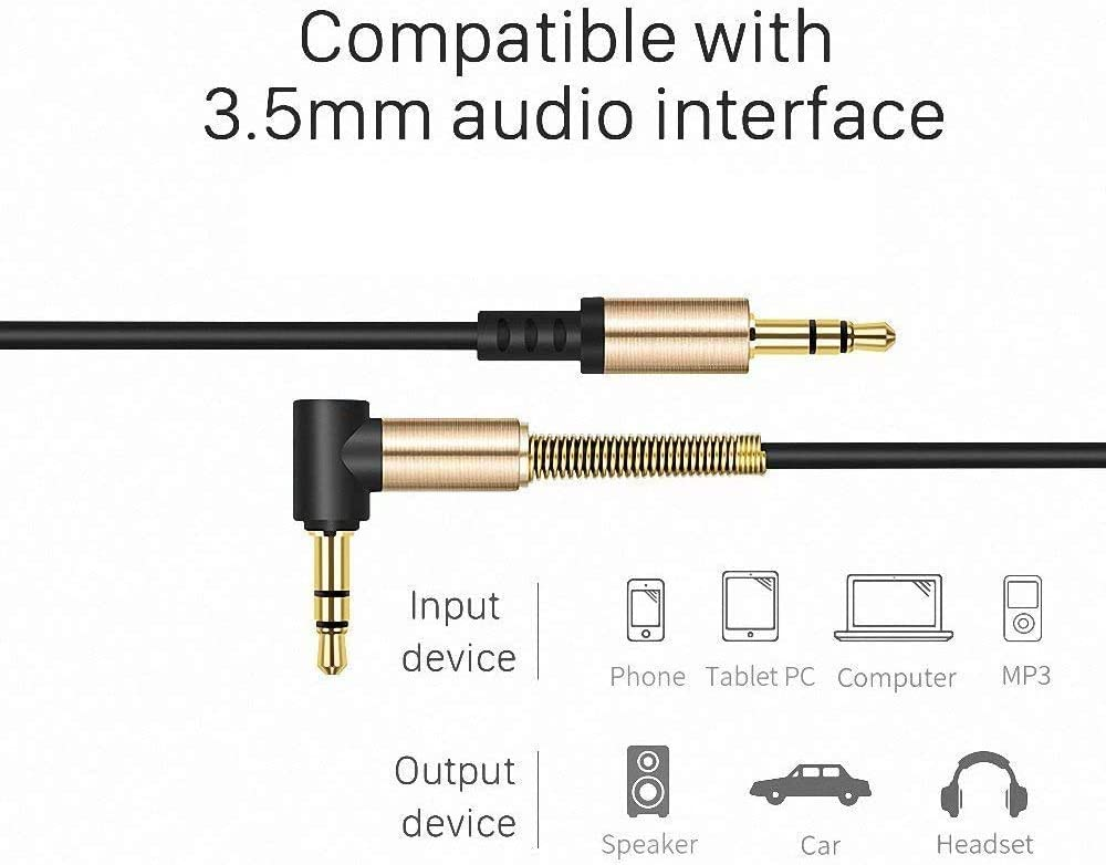 0.5m-1m Nadole Universal Aux Cord Auxiliary//Aux Cable for Car Smartphone Tablets Headset PC Laptop Speaker MP3 Players 2 Pack Coiled Stereo Audio Cable 3.5mm Male to Male Stereo