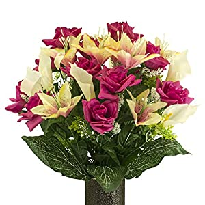 Stay-In-The-Vase Fuchsia Rose with Cream Pink Tiger Lily, Artificial Bouquet, featuring the Design(c) Flower Holder (MD2073) 1