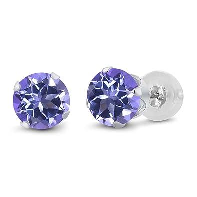 Amazon Com 14k White Gold Purple Blue Mystic Topaz Stud Earrings