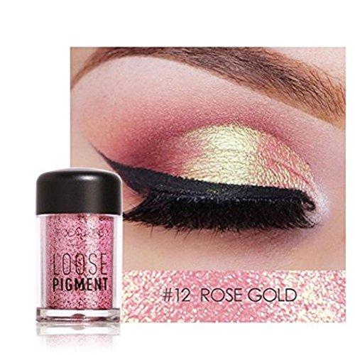 Glitter Loose Makeup Eye Shadow Dust Powder, FirstFly 12 Colors Flash Metallic Eyeshadow Palette Party Cosmetic (Glitter Powder Eye)