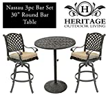 Cheap Heritage Outdoor Living Nassau Cast Aluminum 3pc Bar Set w/ 30? Round Table – Antique Bronze