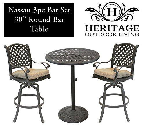 Heritage Outdoor Living Nassau Cast Aluminum 3pc Bar Set w/ 30? Round Table – Antique Bronze Review