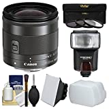 Canon EF-M 11-22mm f/4-5.6 IS STM Lens with Flash + Soft Box + Bounce Diffuser + 3 Filters + Kit for EOS M, M2, M3 ILC Digital Camera