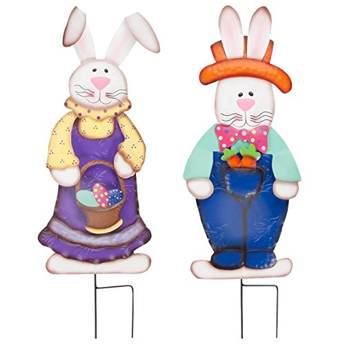 Miles Kimball Easter Bunny Boy and Girl by Fox River Creations, 2 Piece Set, Metal Garden Décor Stakes (Outdoor Easter Decorations)