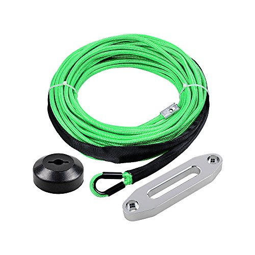 1/4 x 50' Synthetic Winch Line Cable Rope 7000+ LBs w/39' Rock Guard Sheath ATV UTV SUV Off-Road Ramsey (Full Set, Green)