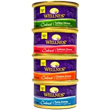Wellness Cubed Grain-Free Wet Cat Food Variety Pack - 4 Flavors (Salmon, Tuna, Turkey, and Chicken) - 12 (3 Ounce) Cans - 3 of Each Flavor by Wellness Natural Pet Food