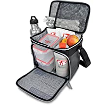 Fitmark Box Meal Prep Insulated Bag with BPA Free Portion Control Meal Containers, Reusable Ice Packs, and Shaker Cup, Black