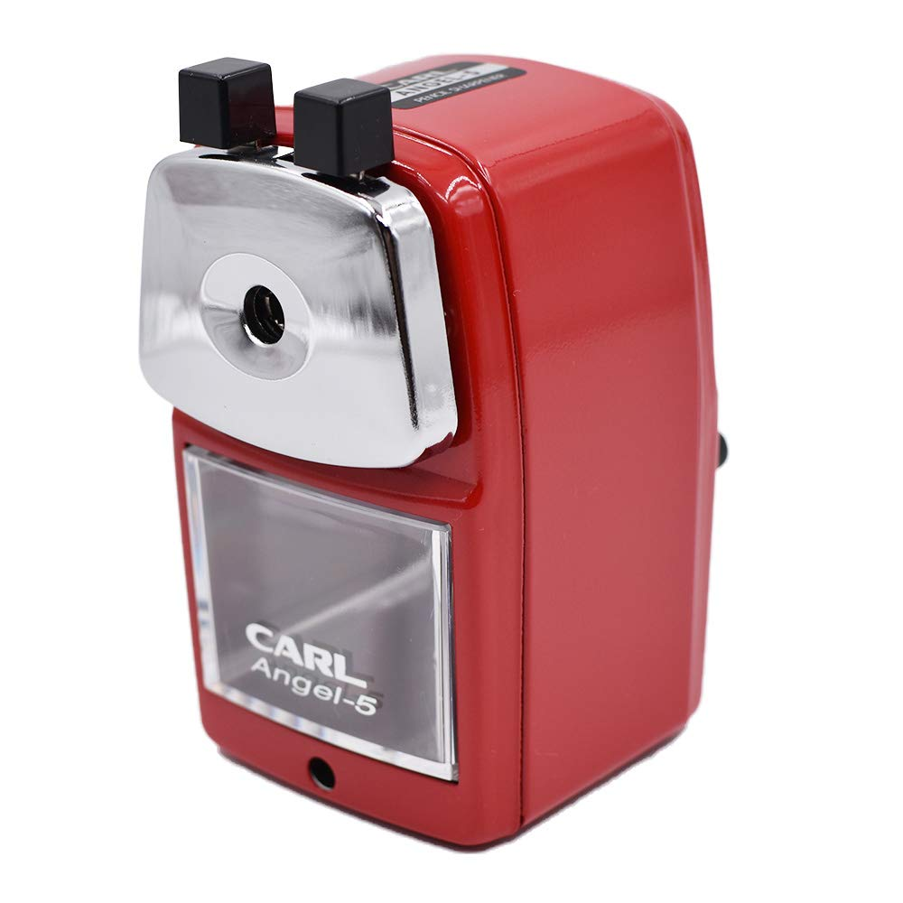 Carl Angel-5 Pencil Sharpener, Red, Quiet for Office, Home and School OfficeCentre