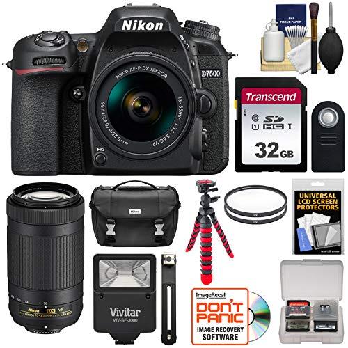 Nikon D7500 Digital SLR Camera with 18-55mm & 70-300mm VR DX AF-P Lenses & Case with 32GB Card + Flash + Tripod + 2 Filters + Remote + ()