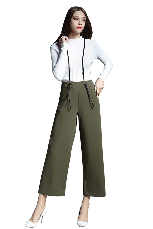 BOMOVO Women's OL Fashion Solid Color Trousers Wide Leg Denim Pants