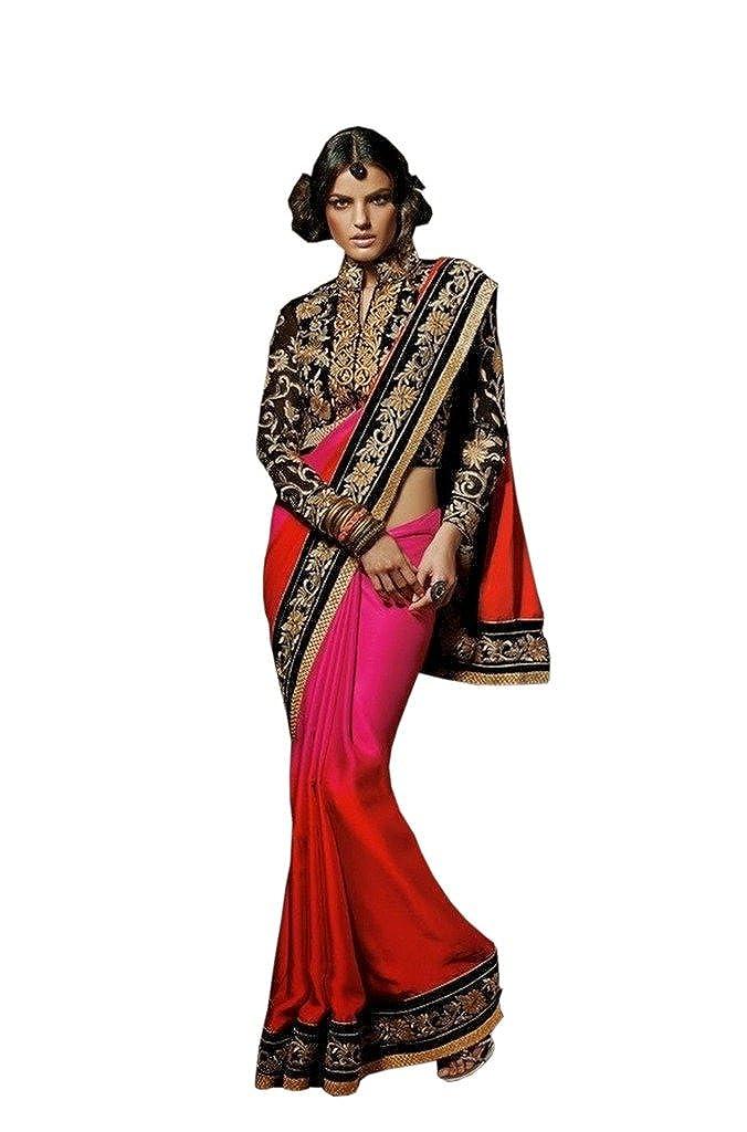 084c661f6595b1 Rehsha Women s Shaded Satin Chiffon Heavy Work Indian Saree Shaded Pink    Red