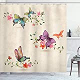 GoEoo Butterfly Shower Curtain on The Retro Style Background Butterfly Pattern Wings Moth Change Decoration Room Decoration Home Easy to Clean Shower Curtain Milk White