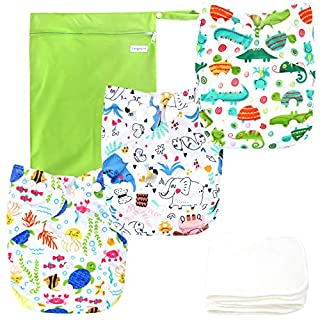 Langsprit Baby Cloth Diaper with Highly Absorbent Bamboo Inserts & Wet Bag,Reusable Unisex Baby Diapers,Baby Shower Gift (Crocodile,Elephant,Turtle)