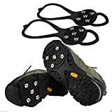 Chinatera 1 Pair Outdoor 5-tooth Anti-Slip Snow Ice Climbing Grip Spike Shoes Crampons (M:22-26cm)