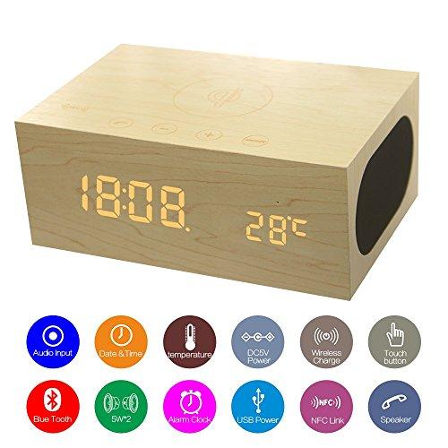 Multifunktional-Stereo Bluetooth Lautsprecher Holz QI Wireless-Ladegerät mit eingebautes Mikrofon, Uhr, Thermometer, NFC und LED-Zeitanzeige für Smartphones, Laptop / Desktop-PC und Tablets