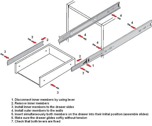 16 Inch 75 Lb Full Extension Ball Bearing Drawer Slides 20 Pair Pack by Quantum Hardware (Image #3)