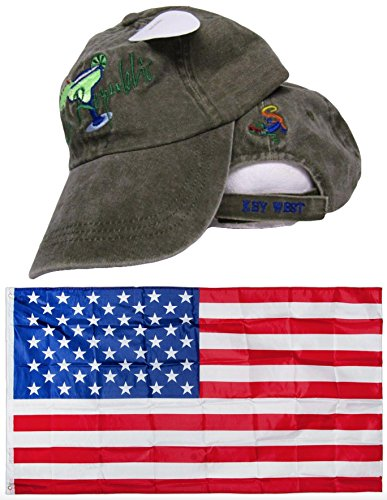 - Conch Republic Key West Martini Drinking Olive Embroidered Hat Cap & USA Flag 3x5 Super Polyester Nylon 3'x5' Banner Grommets Double Stitched Premium Quality