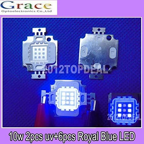 6 Royal Blue 445NM High Power LED Light 9-11V 900-1000mA 10PCS 10W Actinic Hybrid 3 UV 395-405NM