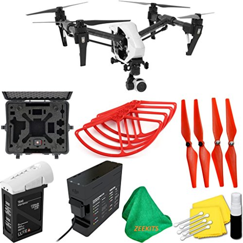 DJI-Inspire-1-V20-Quadcopter-With-Single-Remote-Deluxe-Hard-Case-4pcs-Red-Propellers-Red-Propeller-Guards-ZEEKITS-Microfiber-Cloth-Lens-Cleaning-Kit-for-DJI