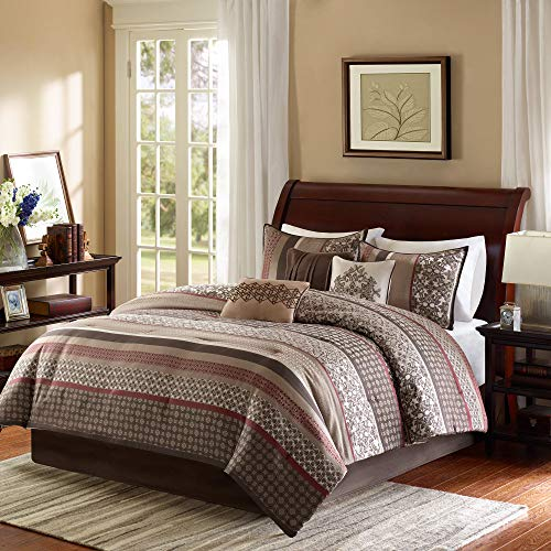 Madison Park Princeton Cal King Size Bed Comforter Set Bed in A Bag - Crimson Red, Jacquard Patterned Striped - 7 Pieces Bedding Sets - Ultra Soft Microfiber Bedroom Comforters